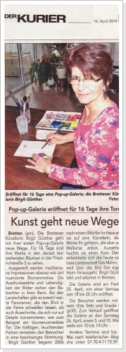 Pop-up Galerie - Der Kurier - April 2014